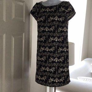 Zara black/cream vintage floral print mini dress